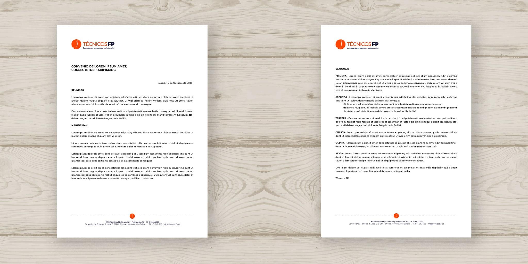 Técnicos FP desarrollo de papelería - papel de carta