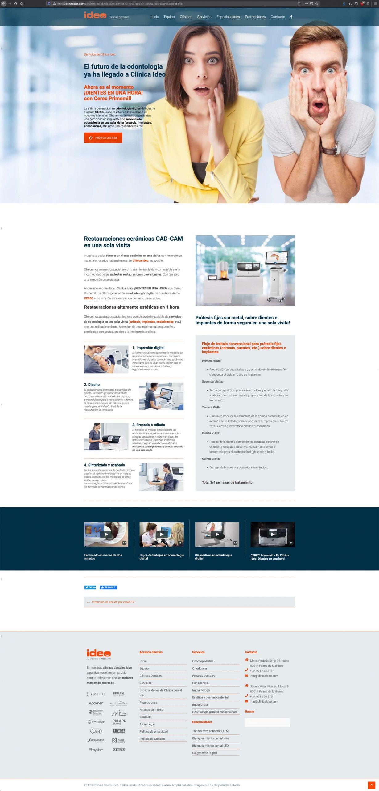 Diseño Web de Clínica Dental Ideo - Home