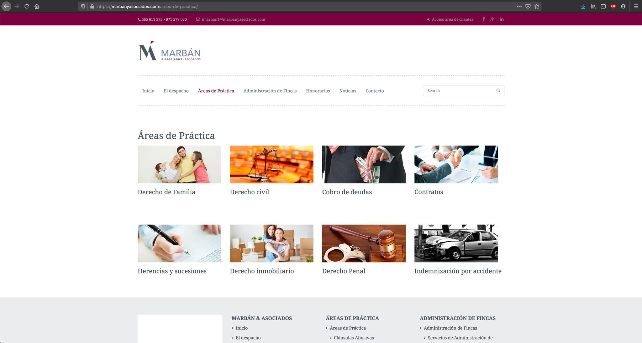 Website Marban y Asociados - Adogados - Áreas de práctica