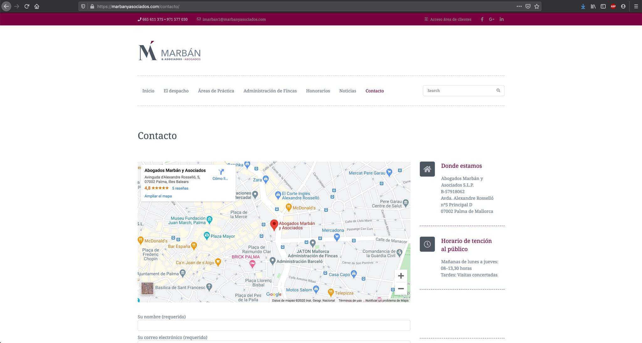Website Marban y Asociados - Adogados - Contacto