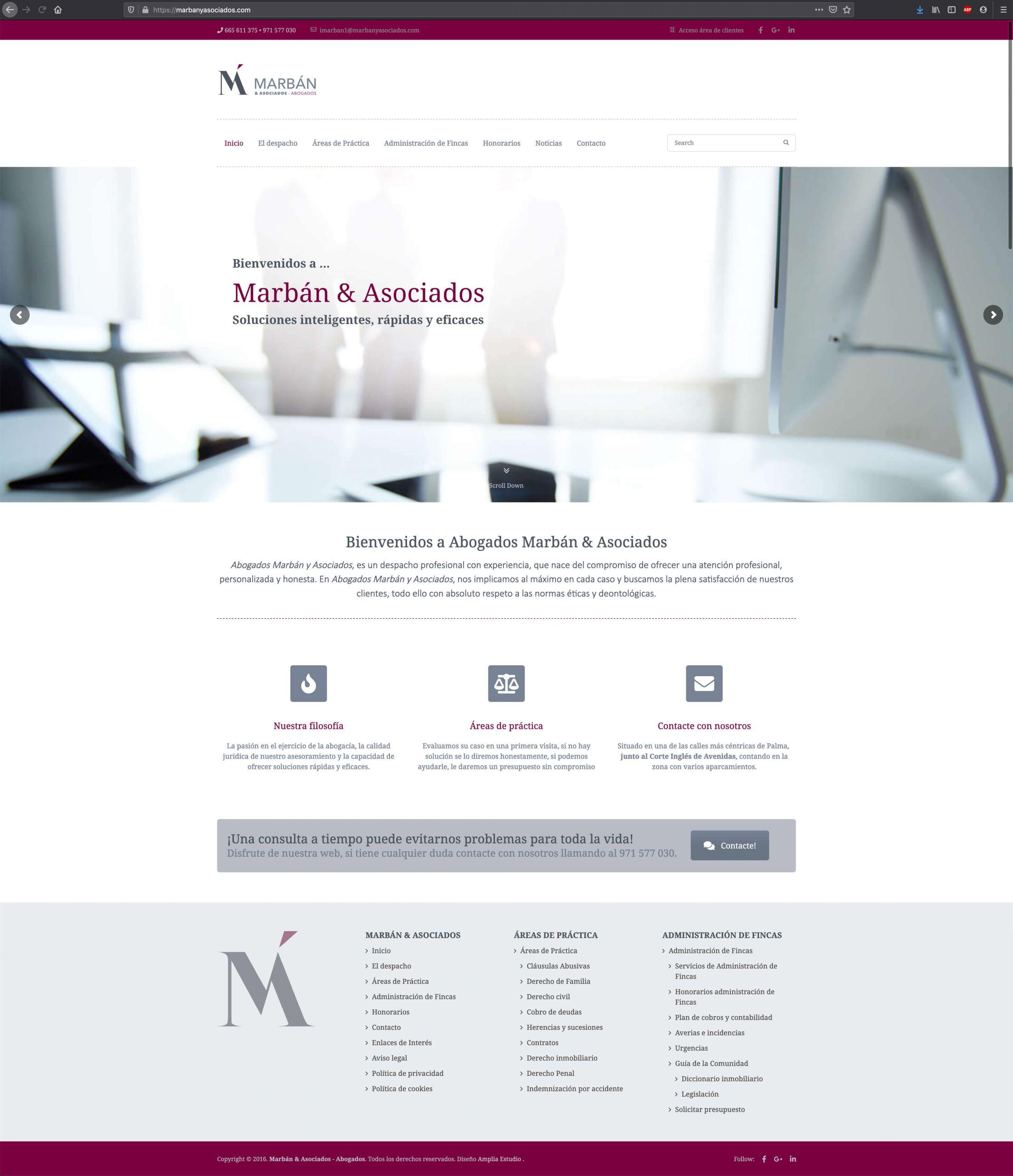 Website Marban y Asociados - Adogados - Home