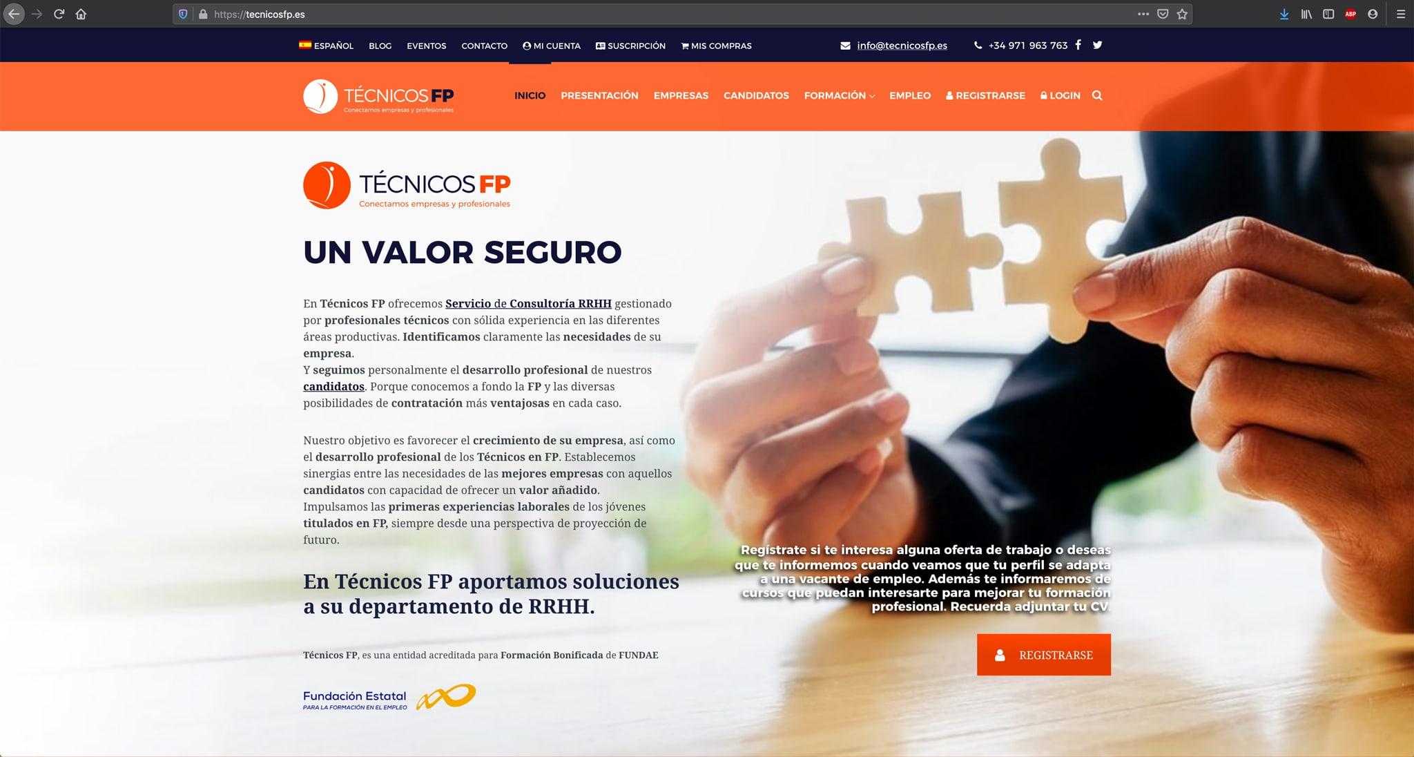 Diseño de Home para la página web de Técnicos FP
