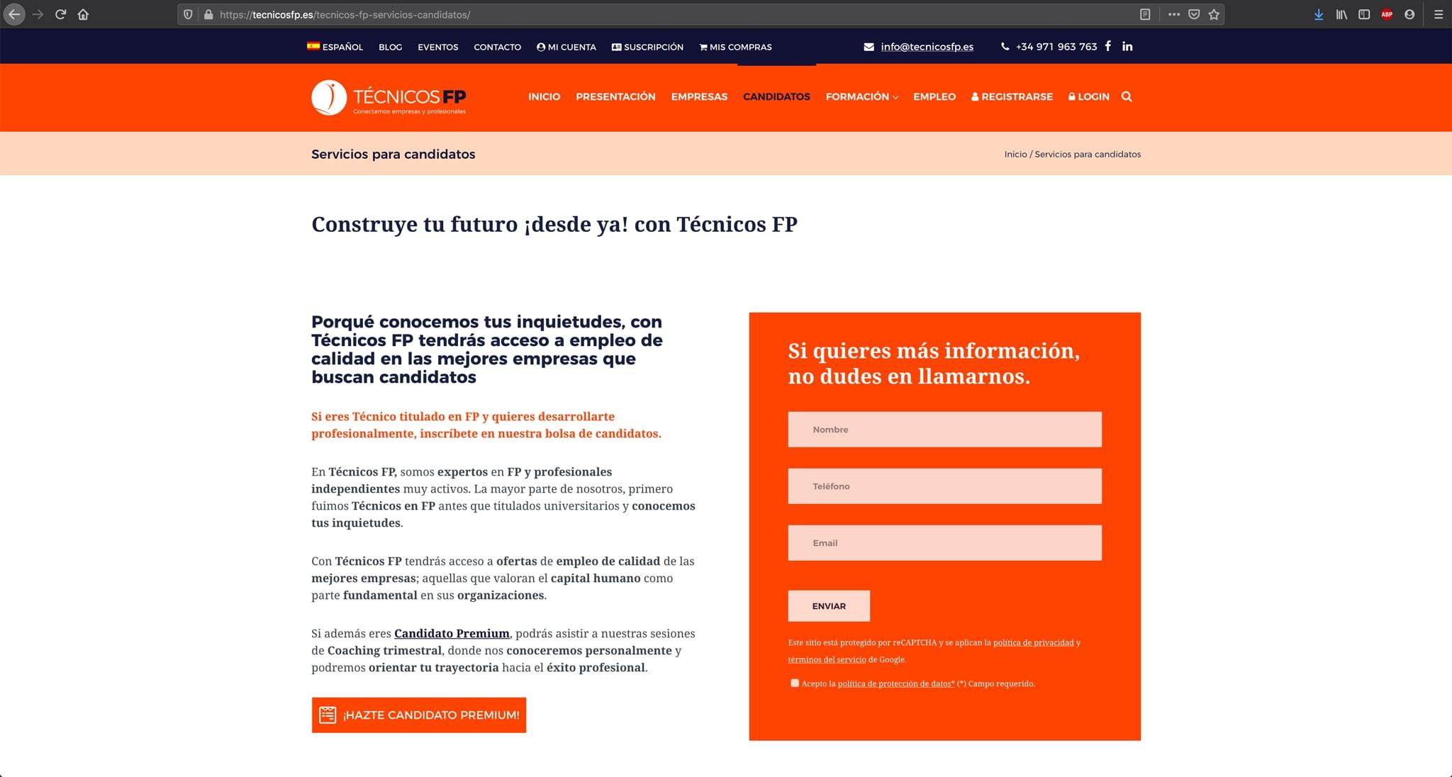 Diseño de página Candidatos para la website de Técnicos FP