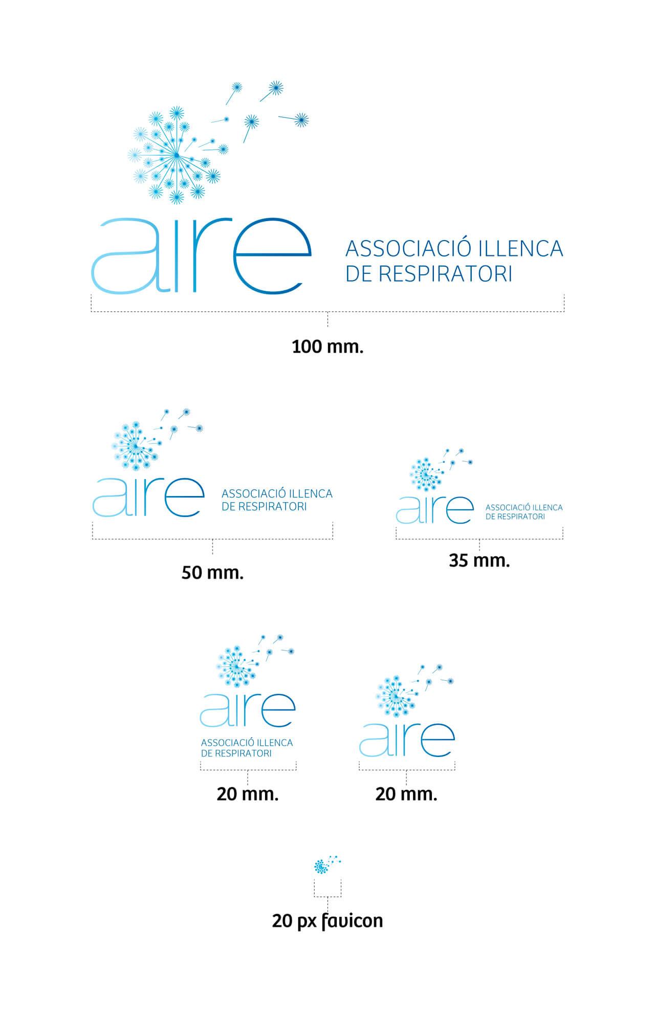 Aire Balears - Desarrollo: Estudio de reducciones del logotipo