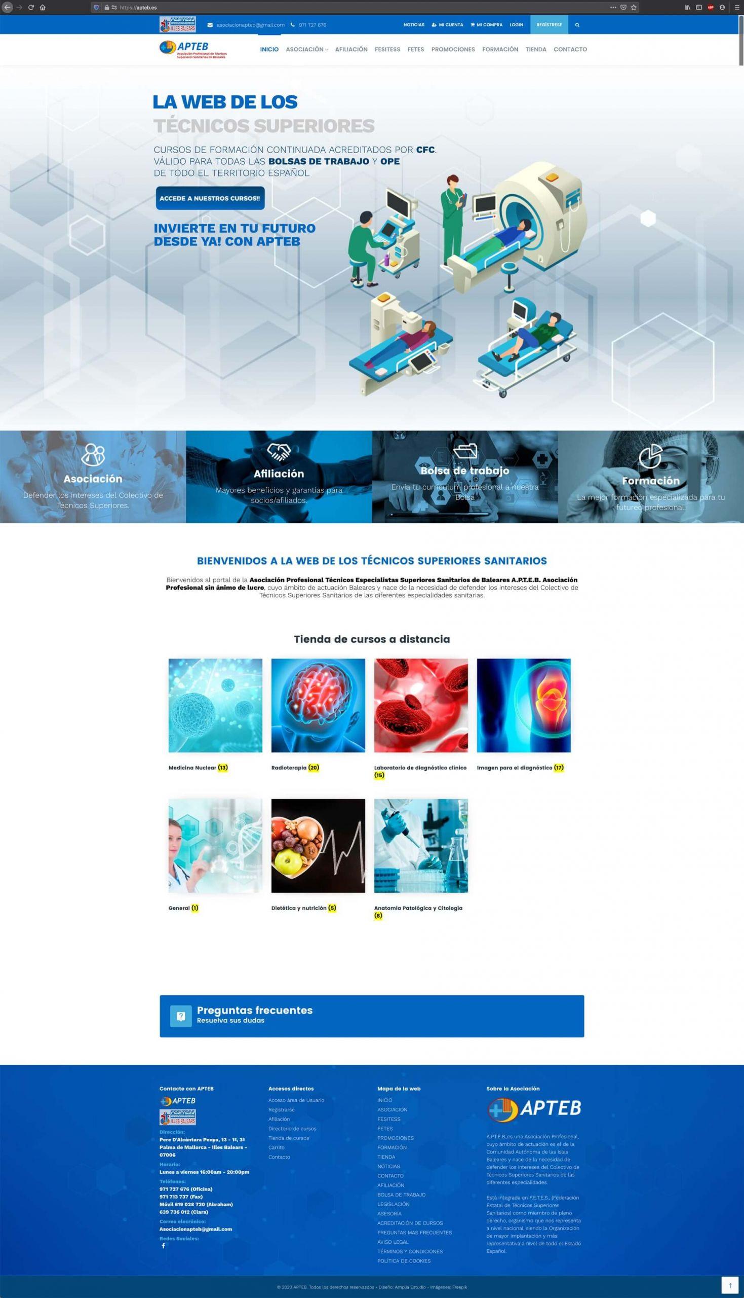 Diseño website APTEB - home