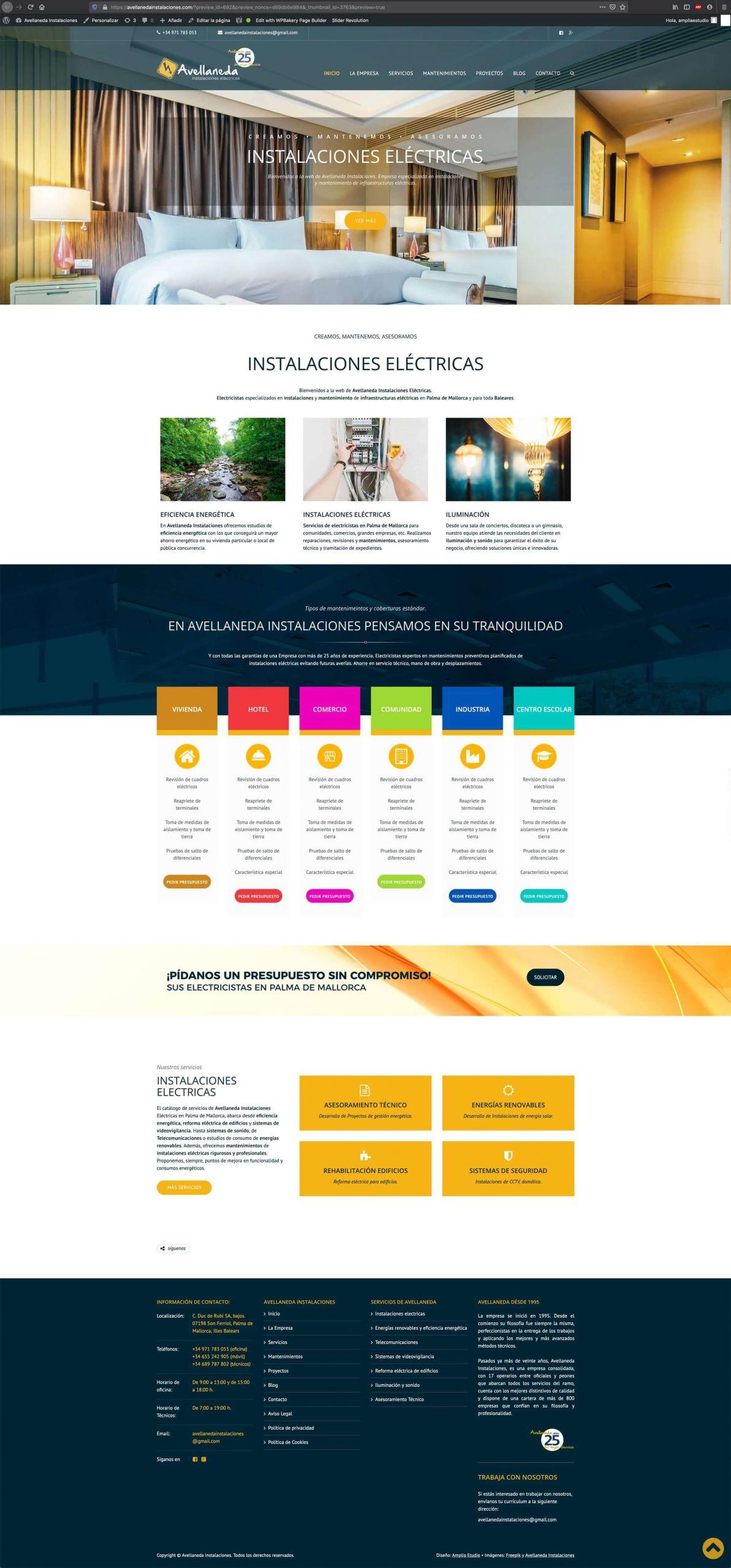Diseño website avellanedainstalaciones.com - home
